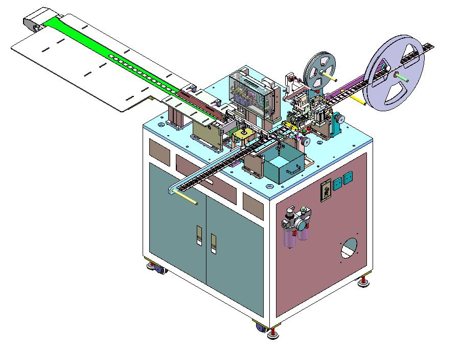 屏蔽罩流水线式一出一光耦检测载带包装机